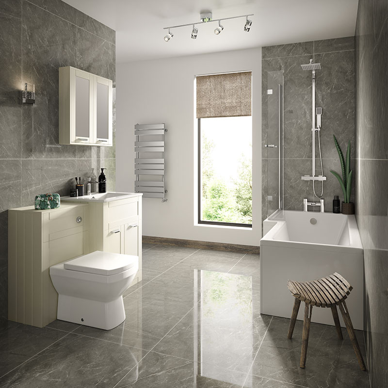 Nottingham Ivory Left Hand L Shaped Shower Bath Complete Suite