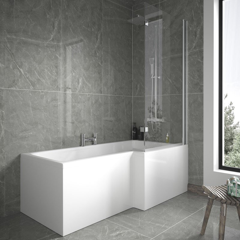 L Shaped 1675 Right Hand Shower Bath, Front Panel and 6mm Shower Screen