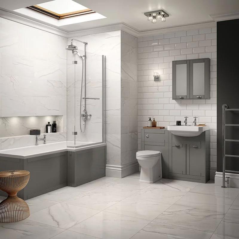 Nottingham Grey Park Royal Right Hand L Shaped Shower Bath Suite