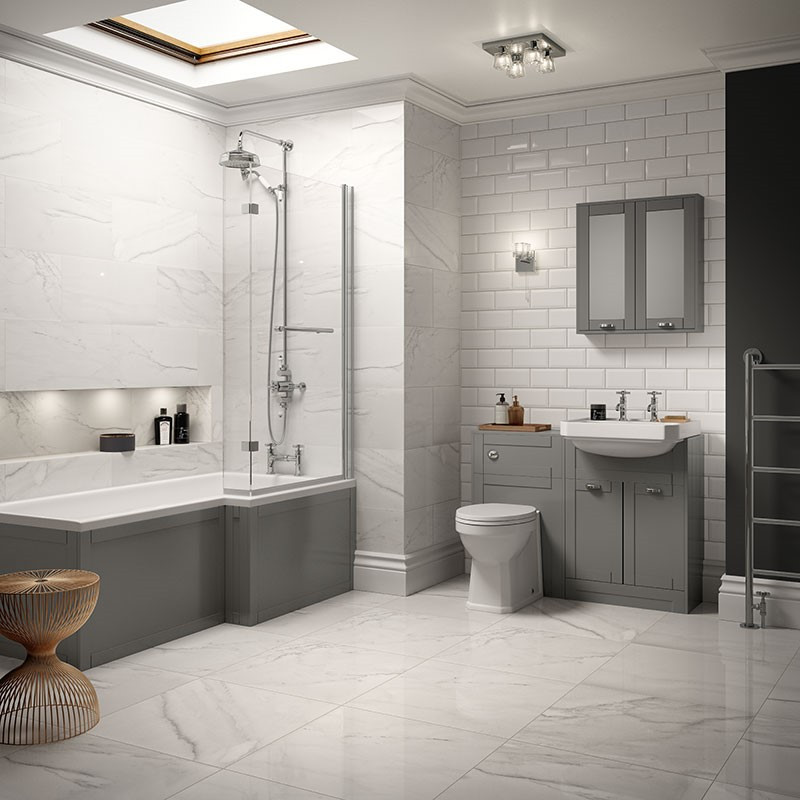 Nottingham Grey Park Royal Right Hand L Shaped Shower Bath