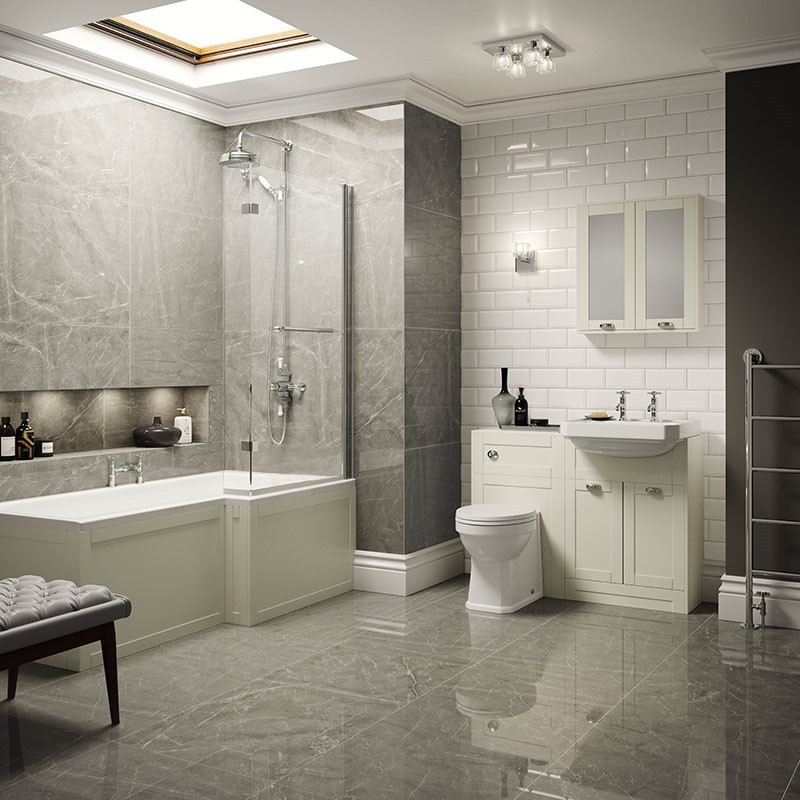 Nottingham Ivory Park Royal Right Hand L Shaped Shower Bath Complete ...