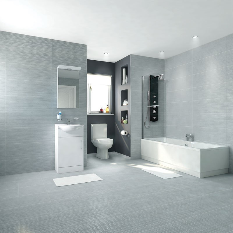 Voss Dee Left Hand Straight Shower Bath 45cm Vanity Unit Complete ...