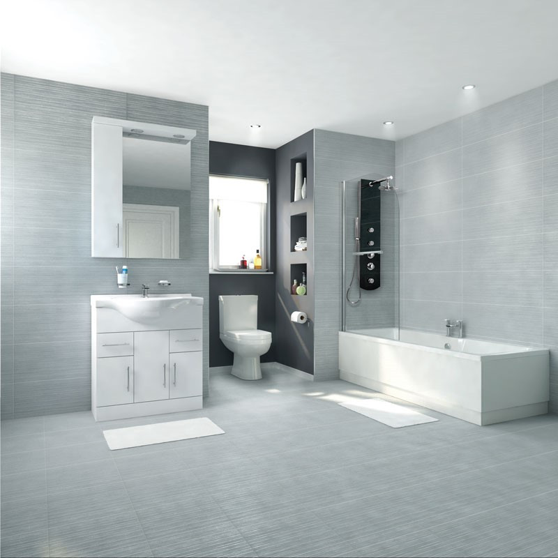 Voss Dee Left Hand Straight Shower Bath 75cm Vanity Unit ...