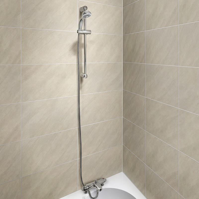 Bath Shower Rail laos deck thermostatic bath shower mixer with primo slide shower