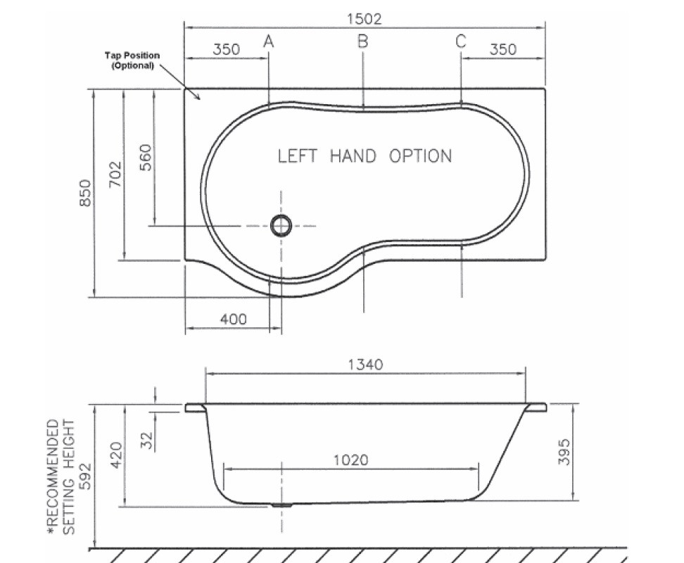 Beresford 1500 X 850 P Shape Right Hand Bath With Front And End Panels
