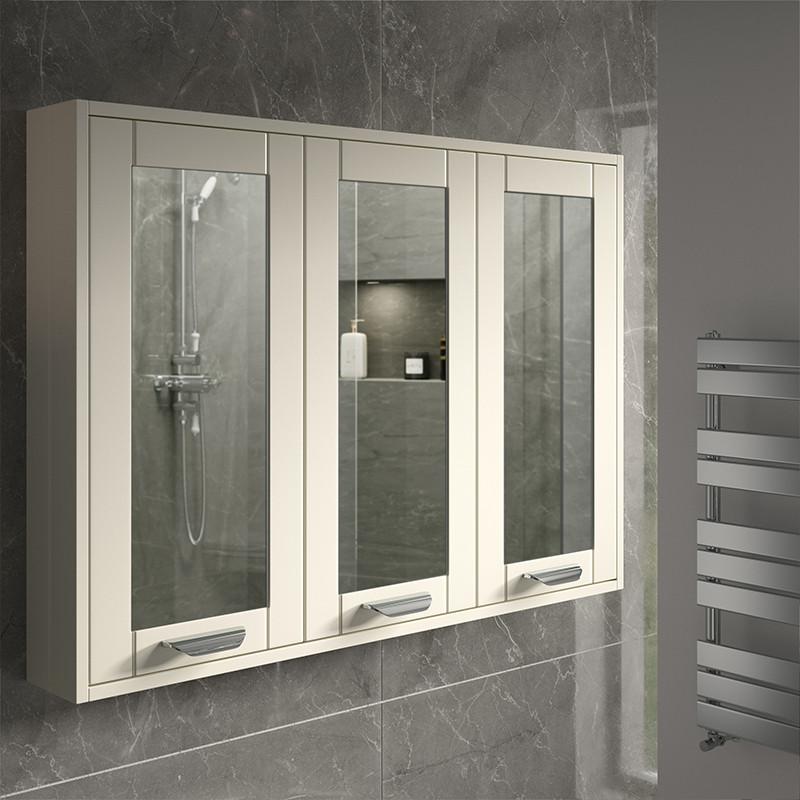 Nottingham Ivory 90cm 3 Door Mirror Cabinet