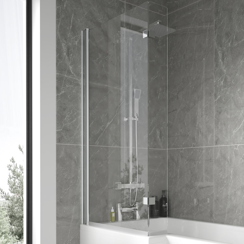 1500mm Right Hand L Shaped Shower Bath With 6mm Glass Shower Screen