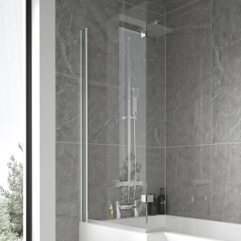 L Shaped Hinged Bath Shower Screen