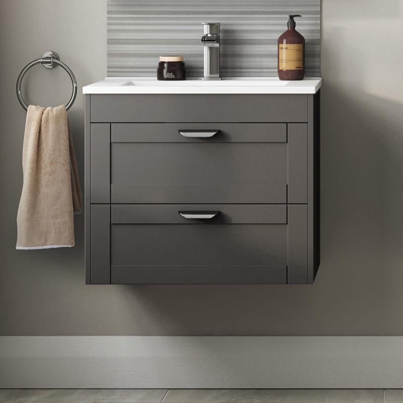 Nottingham Grey 600 Two Drawer Wall Hung Vanity Unit