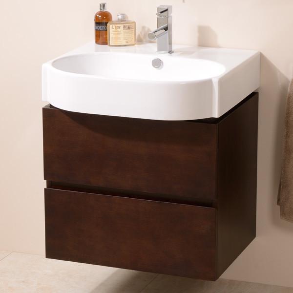 Walnut Vanity Units For Bathroom: Madrid 600mm Walnut Vanity Unit