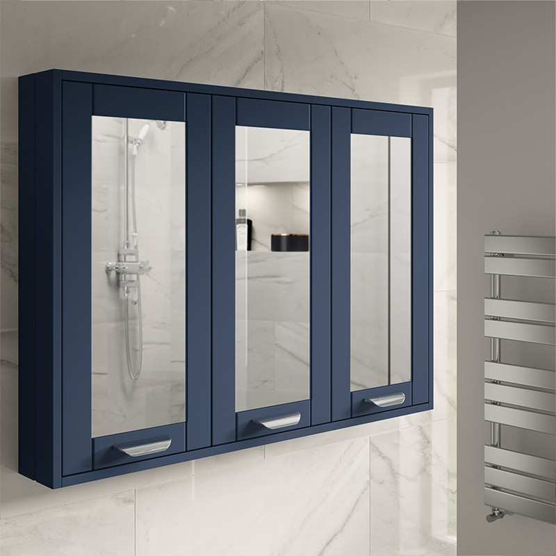 Nottingham Indigo Blue 90cm 3 Door Mirror Cabinet