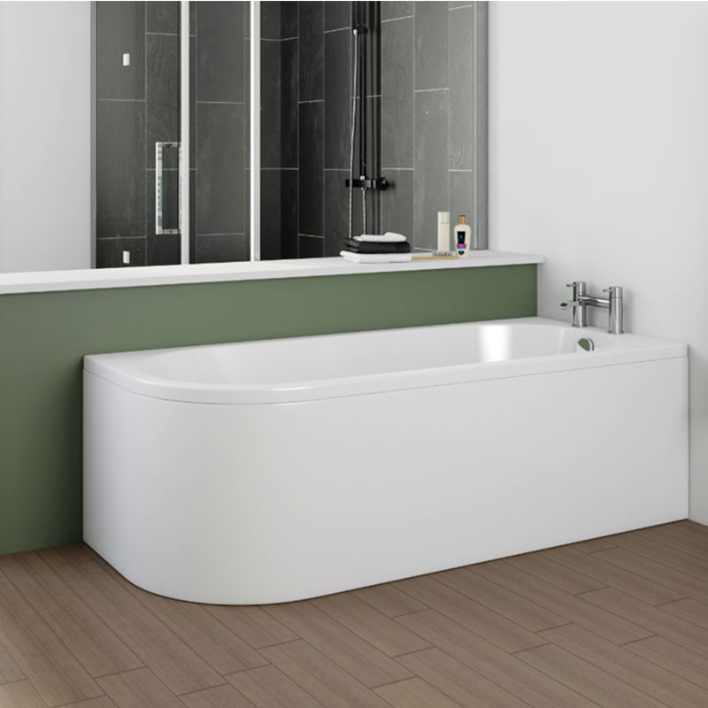 Portland 1700 x 750 j shaped right hand bath with front panel for Portland baths