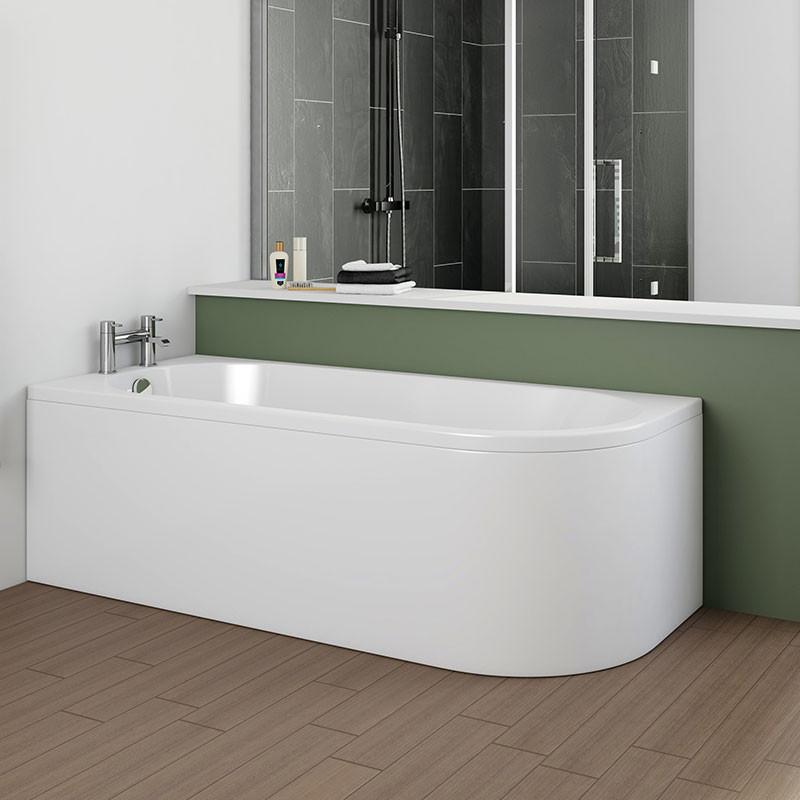 Portland 1700 x 750 j shaped left hand bath with front panel for Portland baths