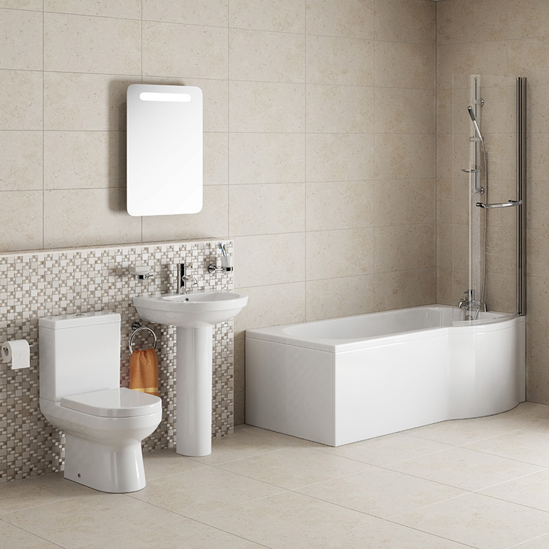 Maine P Shape Right Hand Shower Bath Suite