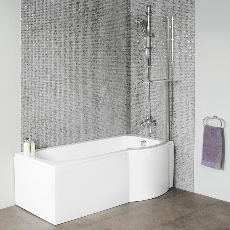 corner baths with shower screen. dee 1600 x 850 right hand p-shaped shower bath with 6mm curved screen corner baths