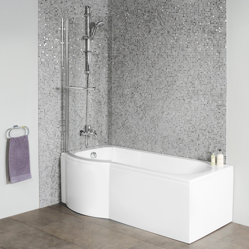 Dee 1800 X 800 Left Hand P Shaped Shower Bath With 6mm Curved Screen