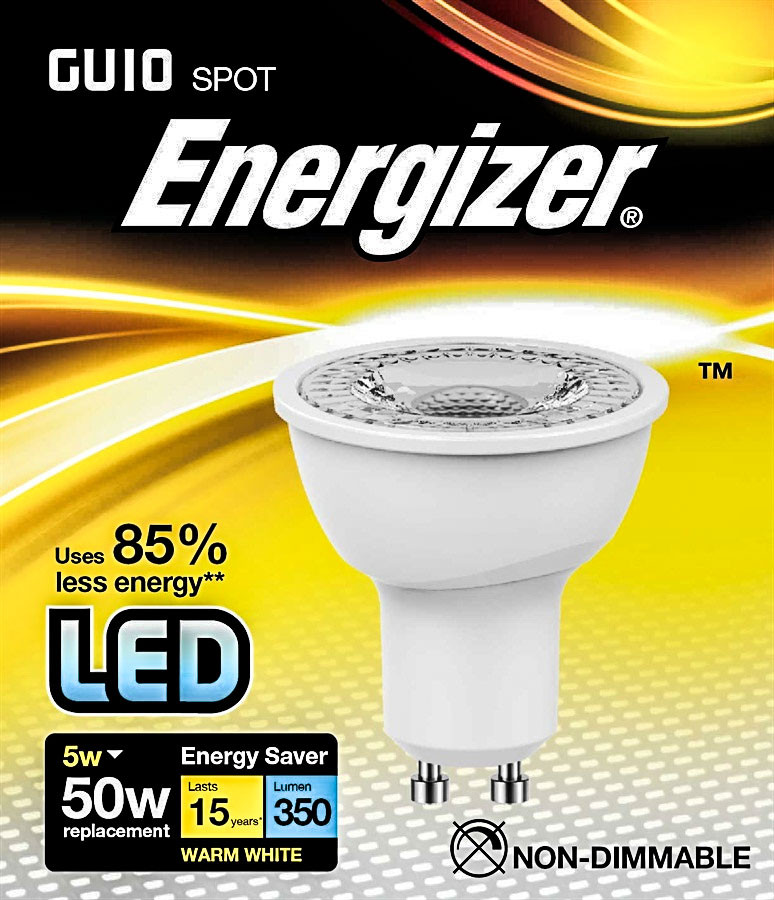 6 pack energizer led gu10 warm white light bulb. Black Bedroom Furniture Sets. Home Design Ideas