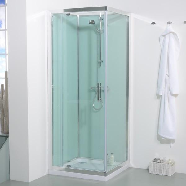 800 x 800 Quatro Shower Cabin with Aqua White Back Panels