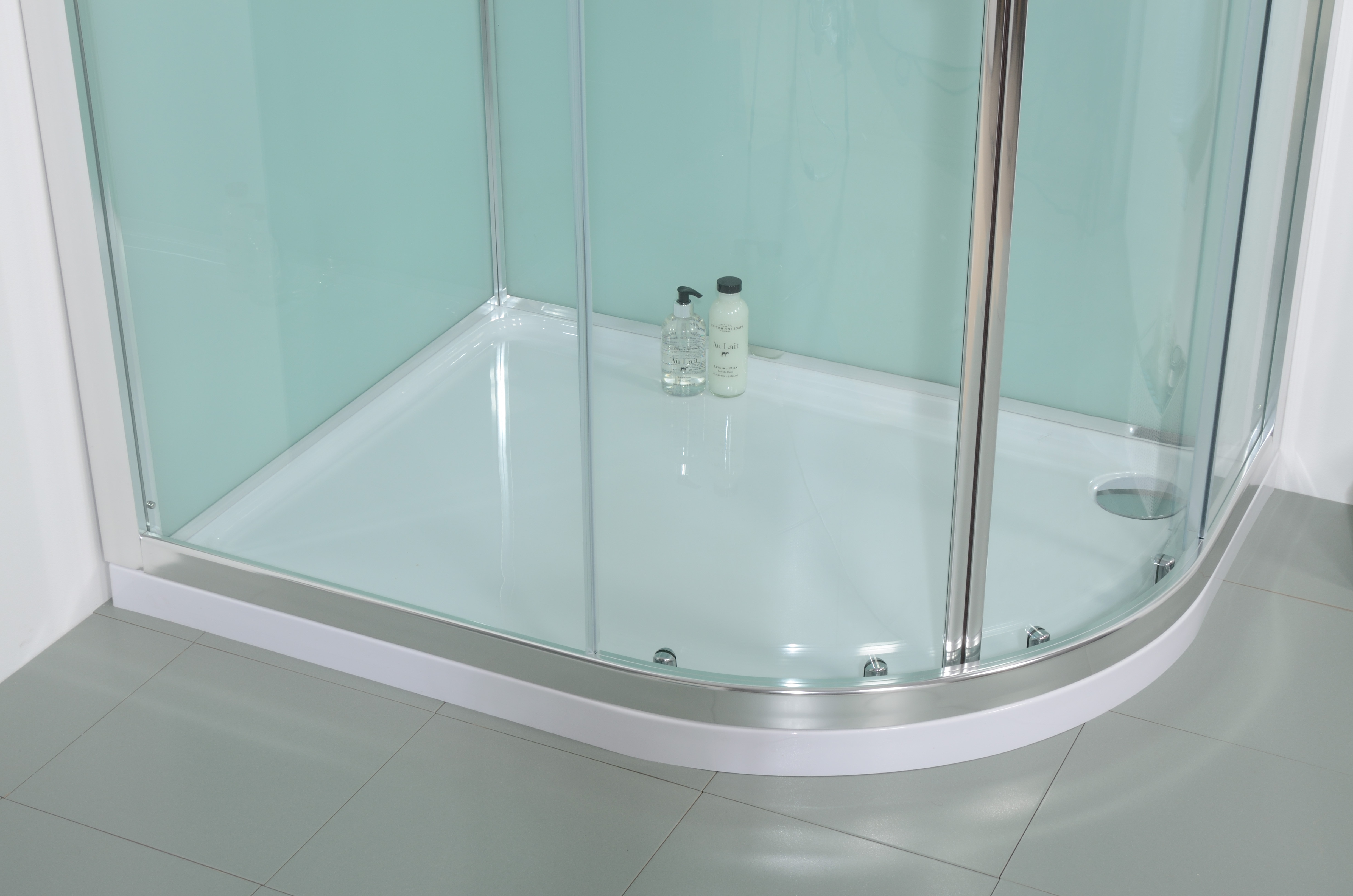 6mm 1200 Offset Right Hand Quadrant Shower Cabin With Aqua