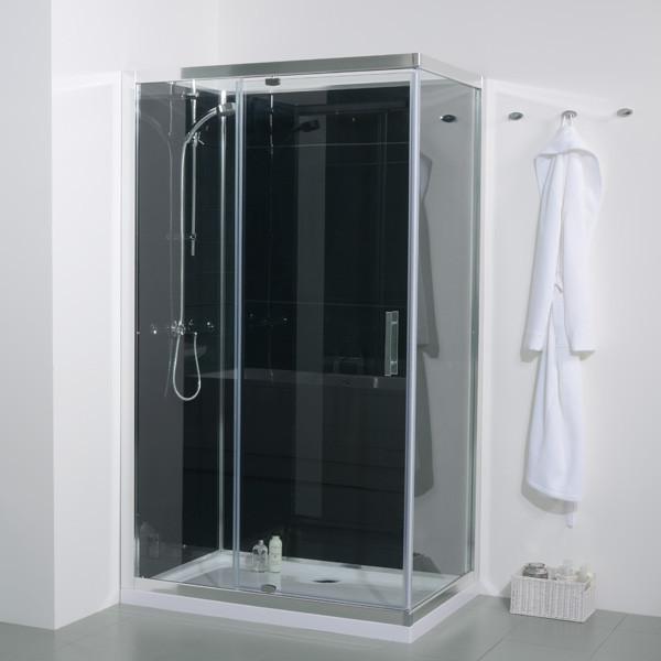 1200 X 800 Quatro Shower Cabin With Black Back Panels