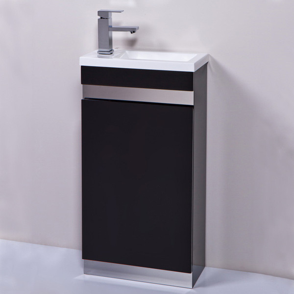 Vigo 420mm Black Cloakroom Vanity Unit. 420mm Black Cloakroom Vanity Unit