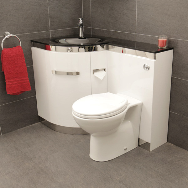 Vigo left hand corner combination unit with black basin - Combination bathroom vanity units ...