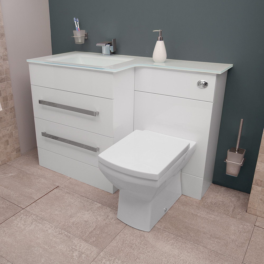 Vigo left hand combination unit and white basin - Combination bathroom vanity units ...