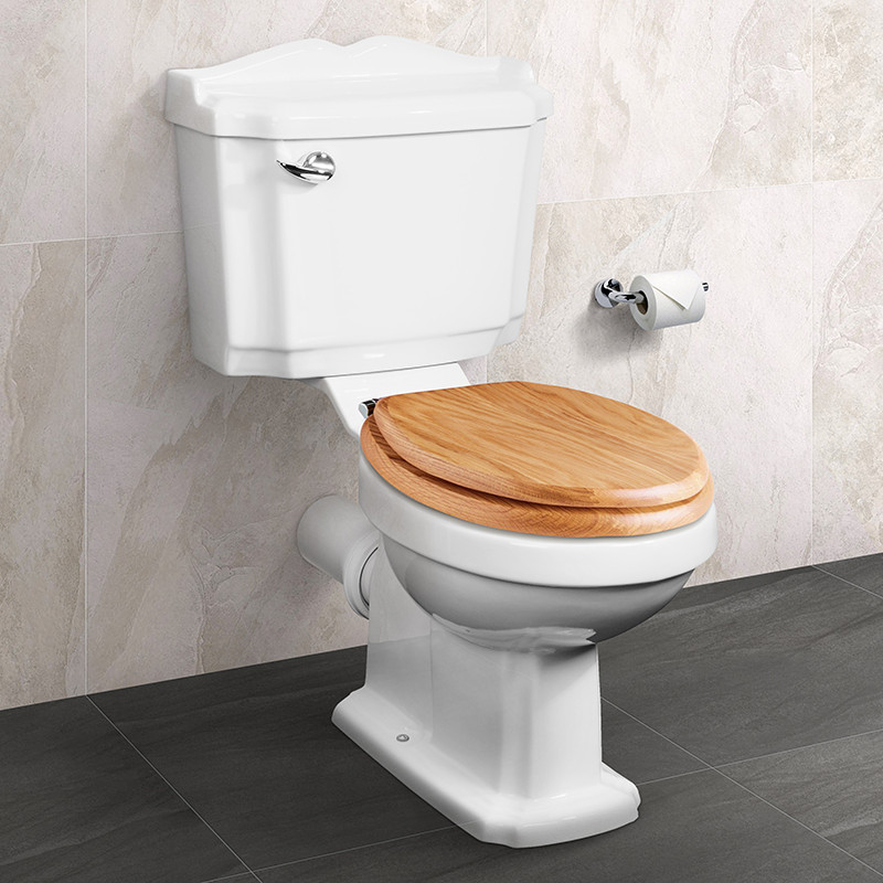 Victoriana Traditional Toilet with Sit Tight Solid Oak Toilet Seat ...