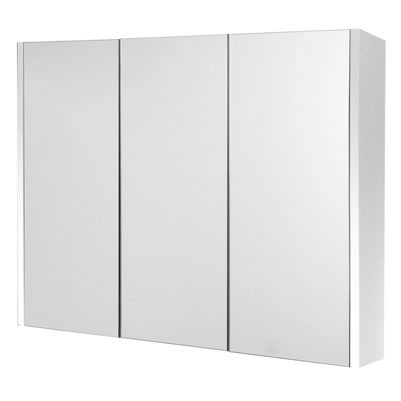 windsor cuba aspen 90cm 3 door white mirror cabinet