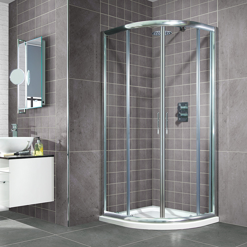Aquafloe 900 x 900 sliding door quadrant enclosure with shower tray - Small shower enclosures ...