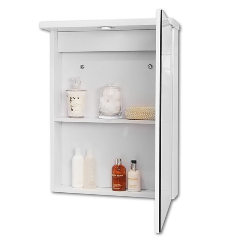 Windsor 550 mirrored cabinet with 1 light 760 h 540 w for Bathroom cabinets 500mm wide