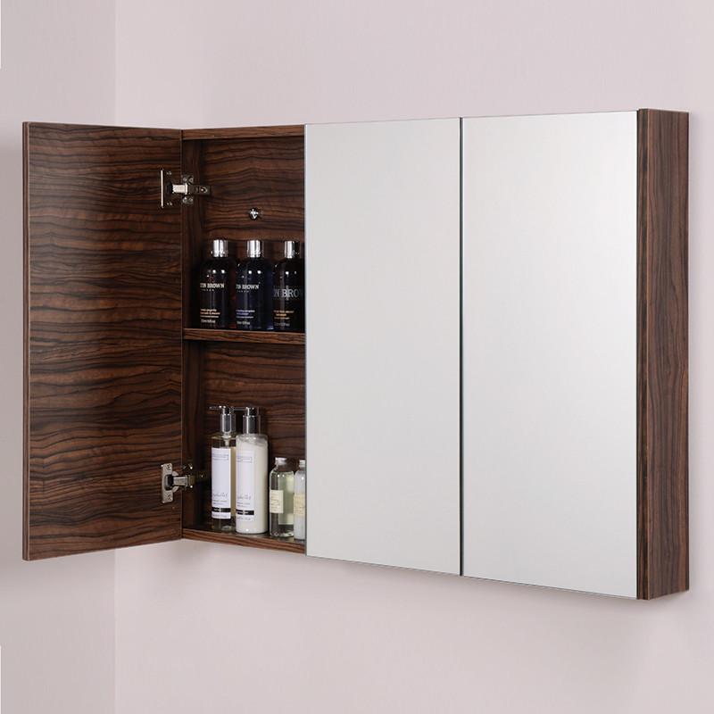 Aspen 3 Door Walnut Mirror Cabinet 650 H 900 W 100 P