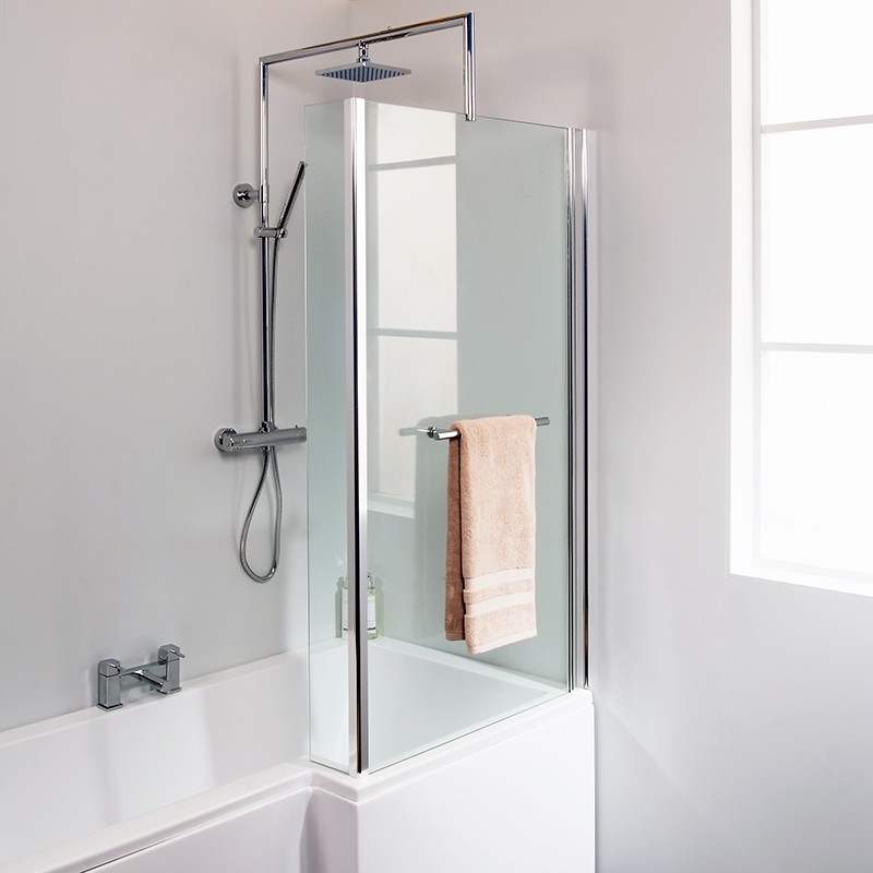 L Shaped Fixed Bath Shower Screen With Towel Rail