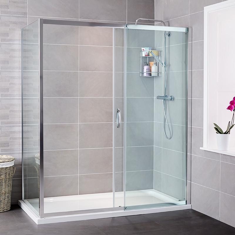 Aquafloe iris 8mm 1700 x 800 sliding door shower enclosure for 1700 shower door
