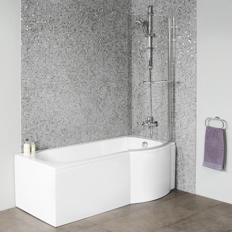 Dee 1675 x 800 Right Hand P Shape 6 Jet Whirlpool Shower Bath