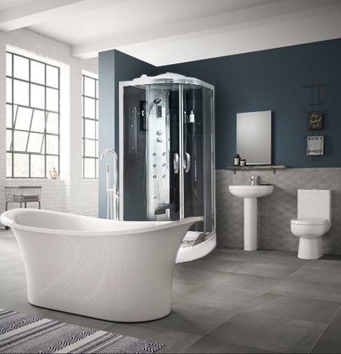 Torrelino Freestanding Bath With Steam Cabin Complete Bathroom Suite