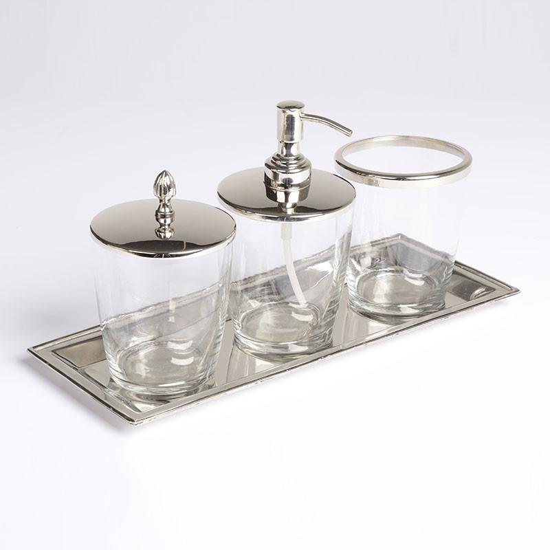 glass bathroom accessory set. Black Bedroom Furniture Sets. Home Design Ideas