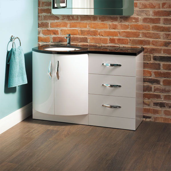 Kirkwood bow front left hand drawer combination - Combination bathroom vanity units ...