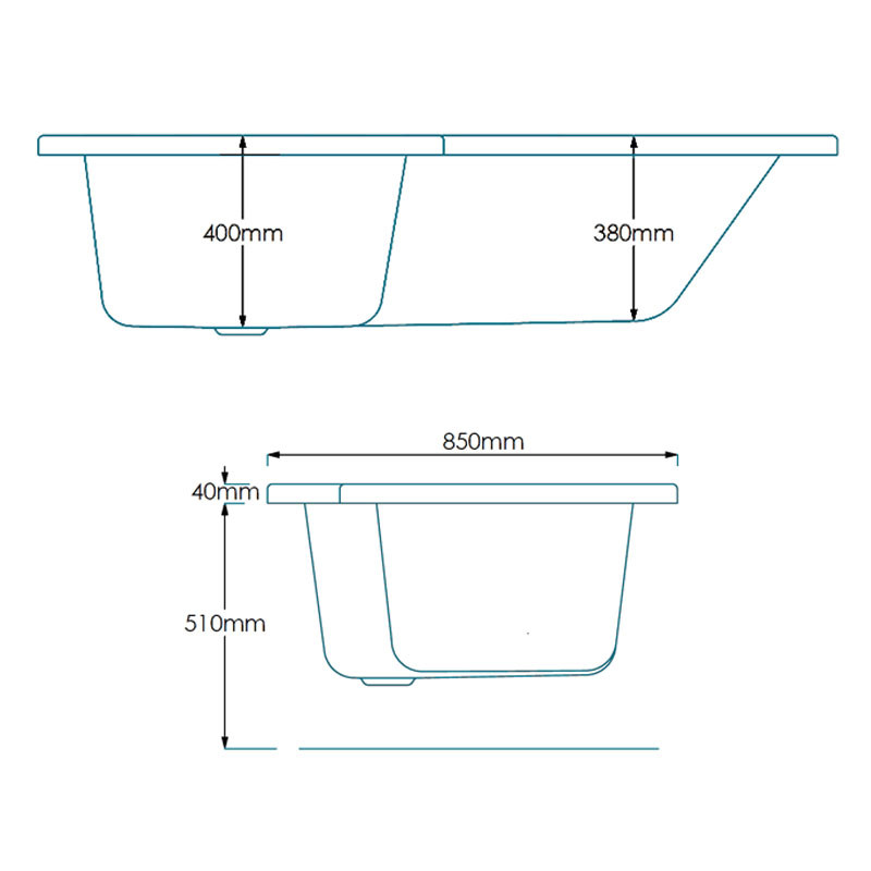 1670 X 700 Left Hand L Shaped Shower Bath With 6mm Screen