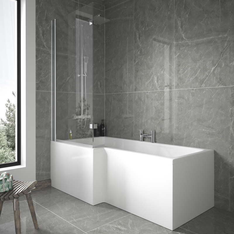 1675 Left Hand L-Shaped Shower Bath with 6mm Shower Screen and Front ...