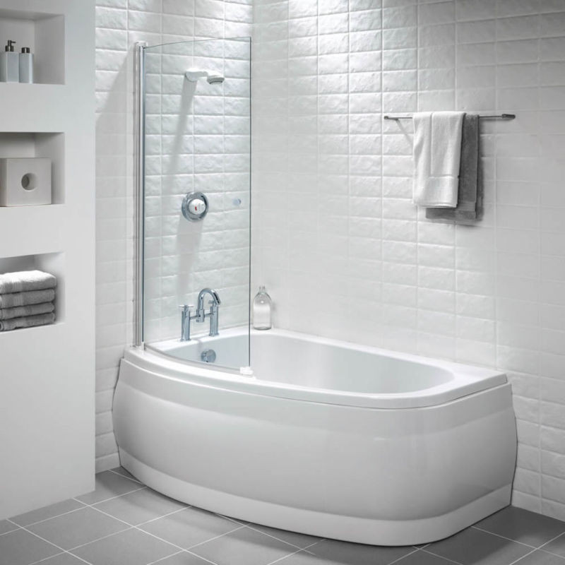 Stansbury Compact 1500 x 895 Acrylic Shower Bath Left Hand with ...