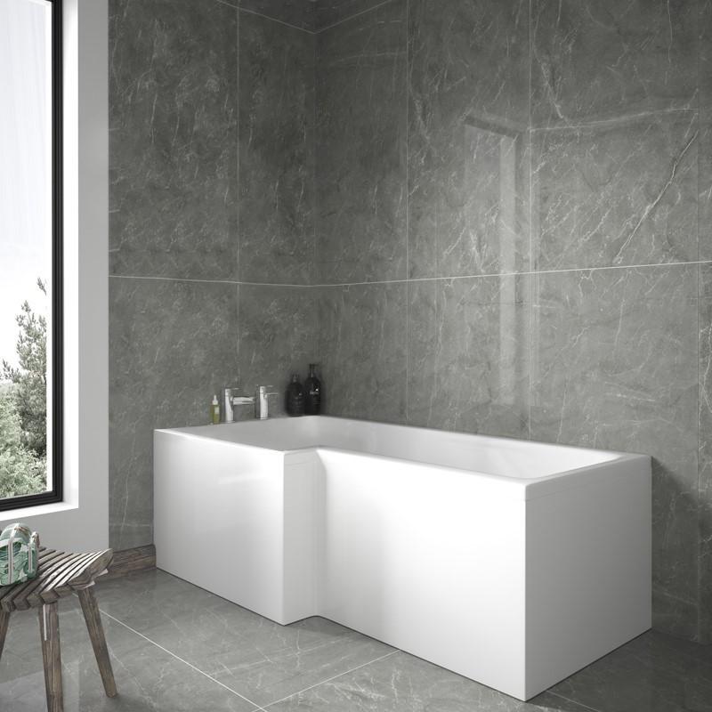 Shower Bath L Shaped 1800mm left hand l-shaped shower bath