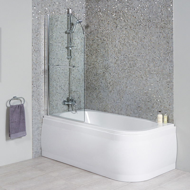 ™ 1600 x 800 Luxury Left Handed Shower Bath With Straight Bath Screen