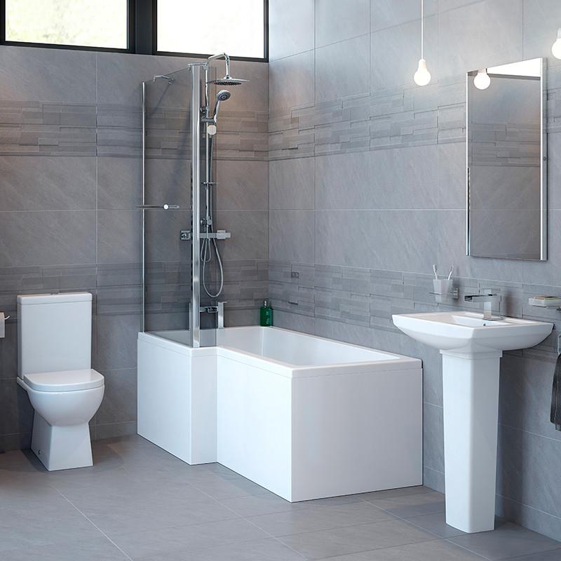 Modena Left Hand Square Whirlpool Shower Bath Suite