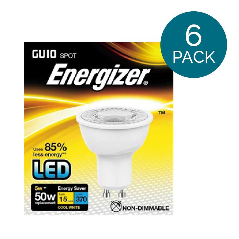 sc 1 st  Better Bathrooms & 6 Pack - Energizer LED GU10 Cool White Light Bulb