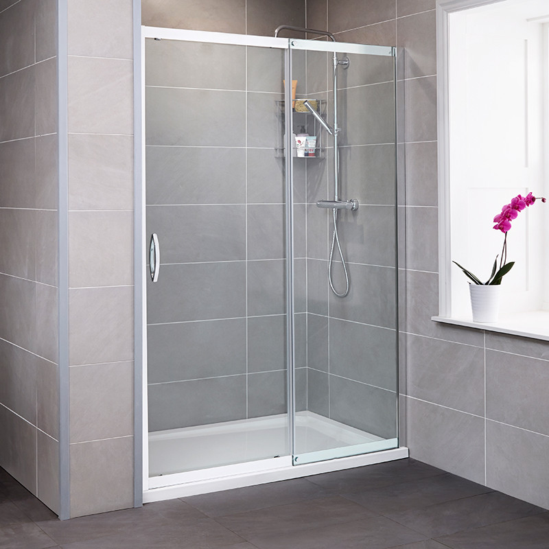 Aquafloe iris 8mm 1400 x 800 sliding door shower enclosure for 1400 shower door