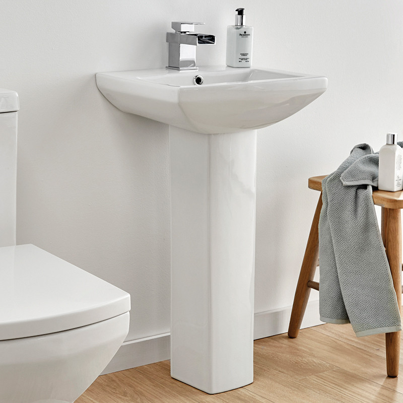 contemporary bathroom basins tabor 460mm basin and pedestal 12429