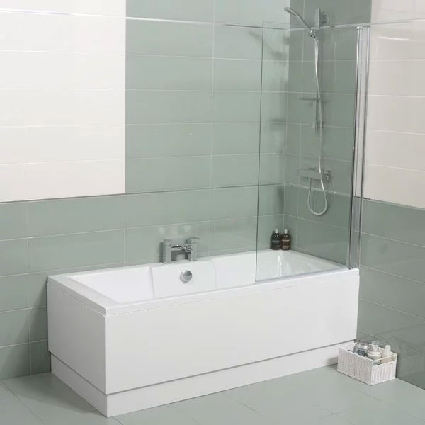 Tabor 1500 x 700 straight shower bath with 6mm hinged screen for Small baths 1500