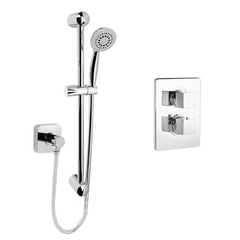 Beta Heat Electric 1150 X 600mm Straight Chrome Heated: Adona Concealed Thermostatic Shower Mixer With Outlet And