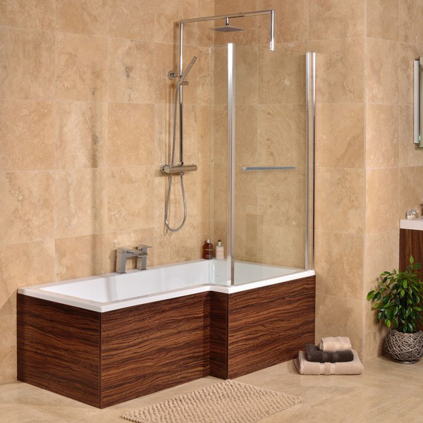 Walnut 1670 x 850 Right Hand L-Shaped Shower Bath With 6mm Screen ...